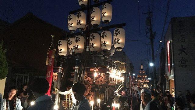 石取祭の夜の祭車